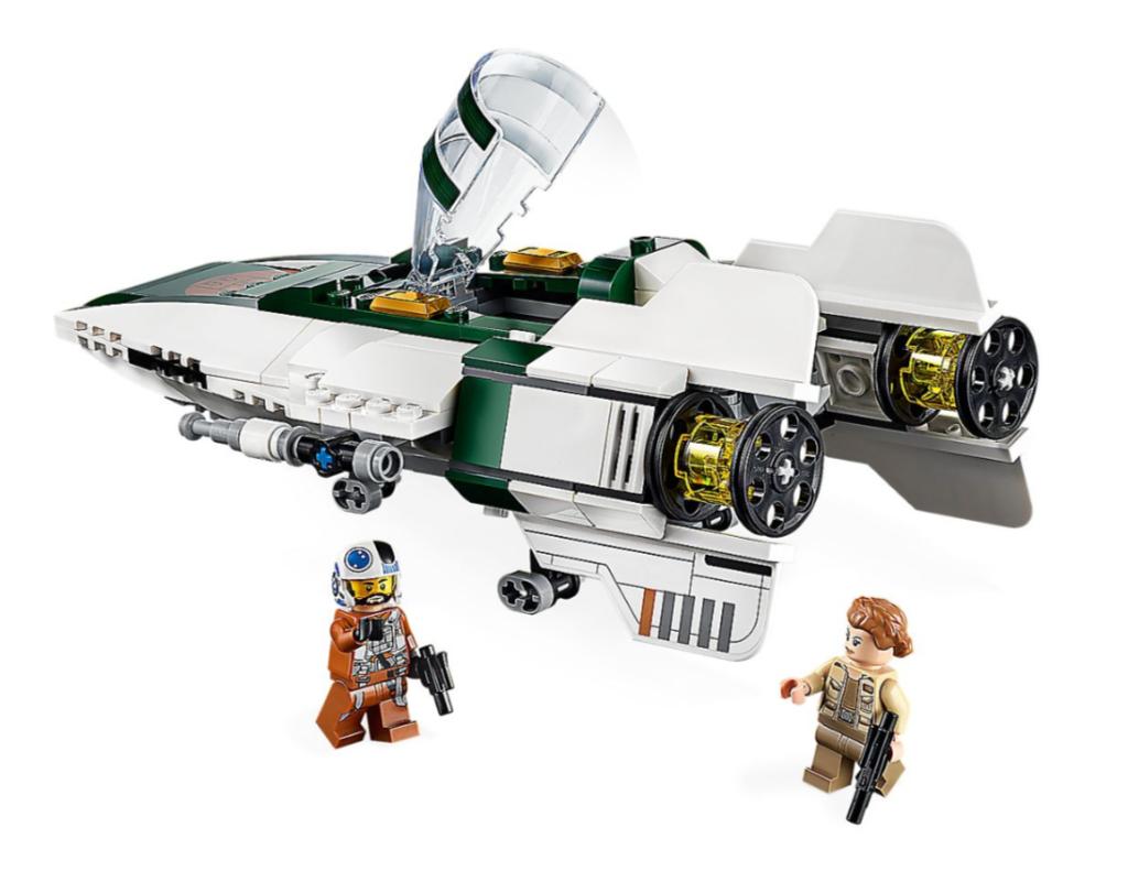 """Niech Twój budowniczy LEGO® lub fan Star Wars™ cieszy się zabawą zestawem 75248 Myśliwiec A-Wing Ruchu Oporu. Pełen szczegółów statek kosmiczny z filmu """"Gwiezdne wojny: Skywalker. Odrodzenie"""", wyposażony w otwierany kokpit z miejscem na dołączoną do zestawu postać ze świata """"Gwiezdnych wojen"""", Snapa Wexleya, chowane podwozie, niestrzelające działa na końcach skrzydeł i dwa wbudowane sprężynowe działka, jest źródłem inspiracji młodych budowniczych i wspaniałą zabawką kolekcjonerską dla każdego fana. W zestawie znajdziesz również minifigurkę porucznika Conniksa, z którą przygody w kosmosie będą jeszcze bardziej nieziemskie."""