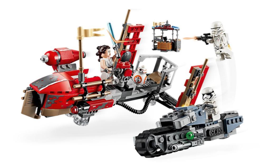 """Dwie zabawki konstrukcyjne LEGO® Star Wars™ z filmu """"Gwiezdne wojny: Skywalker. Odrodzenie"""" będą inspiracją dla tętniącej akcją zabawy. Kreatywnym dzieciom i kolekcjonerom na pewno spodobają się niesamowite szczegóły, takie jak gąsienice ścigacza, boczne miotacze i przezroczysta podstawka, która sprawia, że statek wygląda, jakby wisiał w powietrzu. W zestawie znajdziesz też figurki LEGO przedstawiające postacie ze świata """"Gwiezdnych wojen"""": Rey, żołnierza Najwyższego Porządku z plecakiem odrzutowym i kierowcę ścigacza gąsienicowego Najwyższego Porządku oraz droida BB-8.      Zestaw zawiera wyjątkowe postacie LEGO® Star Wars™, w tym 3 minifigurki — Rey, żołnierza Najwyższego Porządku z plecakiem odrzutowym i kierowcę ścigacza gąsienicowego Najwyższego Porządku — oraz figurkę droida BB-8.     W śmigaczu transportowym jest miejsce na Rey i BB-8, a dzięki przezroczystej podstawce statek wygląda, jakby unosił się w powietrzu.     W ścigaczu gąsienicowym jest miejsce dla żołnierza. Pojazd jest też wyposażony w gumowe gąsienice i dwa boczne miotacze, dzięki którym zabawa przynosi jeszcze więcej emocji.     Odlewany element rakiety i elementy rakiety żołnierza z plecakiem odrzutowym to nowości na październik 2019 r.     Broń: niebieski miecz świetlny Rey, pistolet blasterowy kierowcy ścigacza gąsienicowego oraz blaster żołnierza z plecakiem odrzutowym.     Odtwórz ekscytujące sceny z filmu """"Gwiezdne wojny: Skywalker. Odrodzenie"""" dzięki tej niezwykłej zabawce LEGO® Star Wars™.     Ten zestaw to doskonały prezent urodzinowy, świąteczny lub po prostu prezent z serii Star Wars™ na każdą okazję.     Śmigacz transportowy ma ok. 10 cm wysokości, 19 cm długości i 11 cm szerokości.     Ścigacz gąsienicowy ma ok. 4 cm wysokości, 15 cm długości i 6 cm szerokości."""