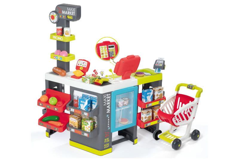 Maximarket z wózkiem - Smoby - zabawkowy market dla dzieci, zabawa w sklep